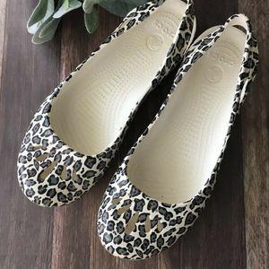 CROCS Slip On Slingback Ballet Leopard Flat Kadee